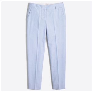 J. Crew Blue Skimmer Oxford Cropped Pant 0